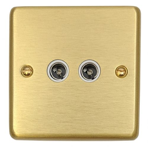 G&H CSB36W Standard Plate Satin Brushed Brass 2 Gang TV Coax Socket Point